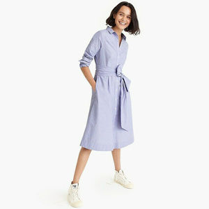 New J Crew Tie-Waist Shirt dress Xs 2 Midi Flare